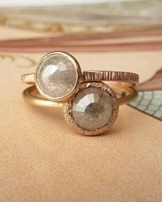 Grey, Pearl & Gold Stacked Wrap Rings
