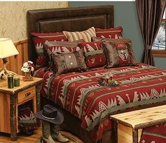 The Yellowstone bedspread combines rich shades of reds and turquoise colors with southwestern geometric shapes that give this popular bedspread its unique look.