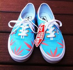 28311cebce Blue Peach Marijuana Leaf Custom Vans. by Creativityism on Etsy Vans Off  The Wall