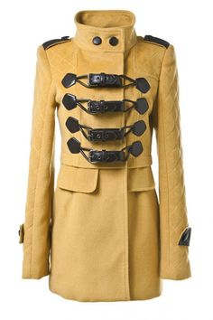 OASAP - Yellow Standing Collar Buckles Fastening Coat - Street Fashion Store