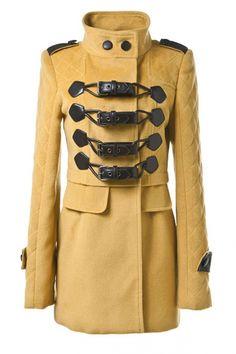 OASAP - Yellow Standing Collar Buckles Fastening Coat - Street Fashion Store