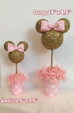 Pink and Gold Glitter Minnie Mouse inspired Centerpiece, Minnie Birthday, Minnie party decoration, Minnie baby shower Minnie Mouse Birthday Decorations, Minnie Mouse First Birthday, Minnie Mouse Baby Shower, 1st Birthday Girls, Birthday Parties, Mickey Baby Showers, Minnie Baby, Birthday Tutu, Minnie Mouse Rosa