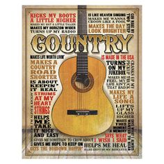 Country music quips to keep you and your friends entertained and remembering the oldies but goodies. Durable, baked finish coat tin sign with rolled over edges for safety and durability indoors and ou