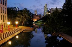 """""""Twilight Reflections.""""  Looking up Omaha's Eugene Leahey Central Park Mall."""