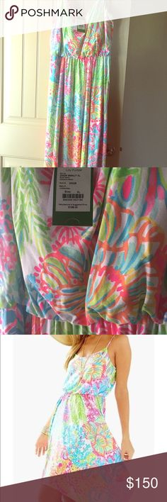 Lilly Lovers Coral Dominica Dress NWT Extremely flattering, adjustable straps, chest support, flows and gorgeous. SOLD OUT! Lilly Pulitzer Dresses Maxi