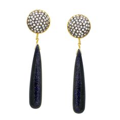 Sparkle Navy Blue Gem Drop Earrings – Silver Trendz