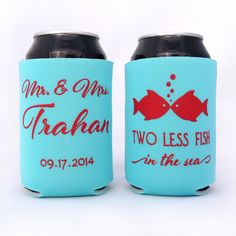 Mr & Mrs // Two Less Fish In The Sea // Personalized Wedding Can Coolers