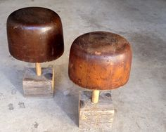 """Antique wood hat forms. 6""""w x 15""""h and 5.5""""w x 14""""h"""
