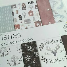 I used watercolour to paint little wintery houses and used them as inspiration for a whole collection of Nordic style patterns. I think it might just be my favourite ever paper pack!