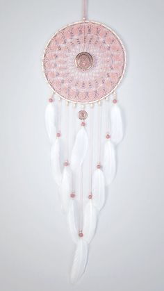 Rose cendre Dream Catcher, Crochet napperon Dreamcatcher, grand dreamcatcher…
