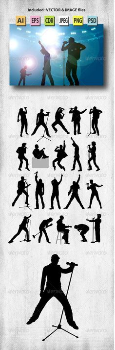 Male Singer Silhouettes #graphicriver