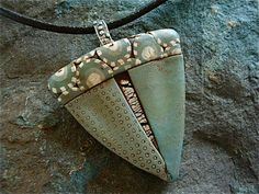 Sage Green Polymer and Silver Pendant, by Silvermaven
