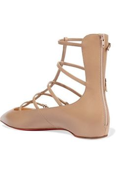 Christian Louboutin - Toerless Muse Buckled Leather Point-toe Flats - Beige - IT38.5