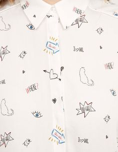 Discover this and many more items in Bershka with new products every week Kids Prints, Baby Prints, Screen Printing Shirts, Printed Shirts, Doodle Patterns, Print Patterns, Abstract Face Art, Conversational Prints, Novelty Print