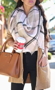 what to wear with a large scarf : try gray cardigan w/ the peacock green or mulberry scarf