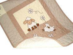 Sheep Baby Quilt,  Baby Shower Gift, Crib Bedding, Christening Gift  HET