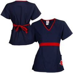 Boston Red Sox Womens MLB Solid Wrap Scrub Top With Pockets - Navy Blue