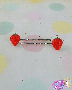 Set of 2 Hair Pins: Strawberry  Kawaii Fairy Kei by KelseaEcho