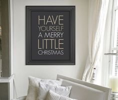 Merry Little Christmas Art Print // Modern Minimalist Christmas Decor // Neutral White Christmas Decor // Holiday Print on Etsy, $10.00