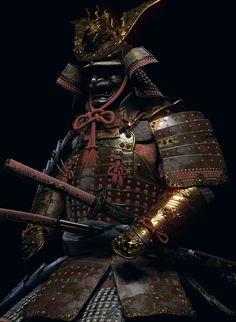 Oni Samurai, Samurai Warrior Tattoo, Samurai Weapons, Japanese Art Samurai, Japanese Warrior, Samourai Tattoo, Todoroki Cosplay, Martial, Hanya Tattoo