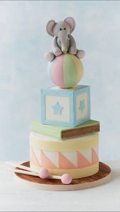 Baby Shower Cake For Boys Elephant First Birthdays 44 Ideas Gateau Baby Shower, Baby Shower Cakes, Baby Boy Cakes, Cakes For Boys, Fancy Cakes, Cute Cakes, Pastel Mickey, Elephant Cakes, Elephant Baby