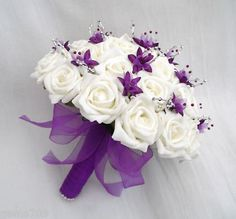 white bouquet with purple flowers Purple Wedding Bouquets, Purple And Silver Wedding, White Wedding Flowers, Bride Bouquets, Bridal Flowers, Flower Bouquet Wedding, Carnation Wedding, Wedding Dresses, Silver Roses