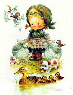 Ilustrações Infantis de Giordano Sarah Kay, Decoupage Vintage, Vintage Ephemera, Print Pictures, Cute Pictures, Art And Illustration, Illustrations, Holly Hobbie, Animal Paintings