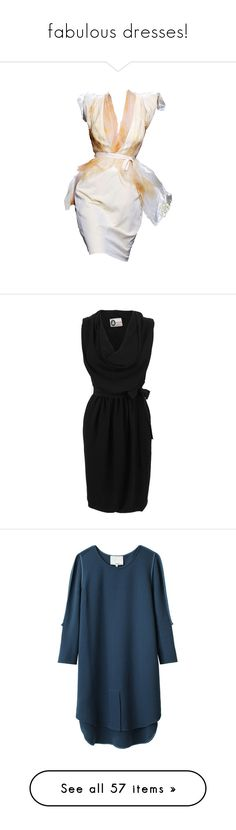 """""""fabulous dresses!"""" by euafyl ❤ liked on Polyvore featuring dresses, vestidos, платья, short dresses, mini dress, tie dress, tie waist dress, cowl neck dress, no sleeve dress and lanvin dress"""