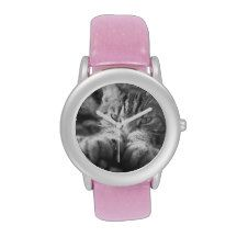 Pretty Pink Girl's Watch with Tabby Cat picture #catlovers #gifts #cats #pink #zazzle #watches