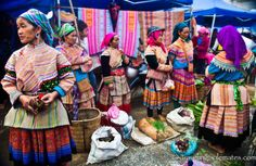 Flower Hmong women at the Sunday market in the hilltribe village of Bac Ha in the northern mountains of Vietnam.