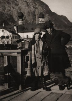Photograph of Alma Reville and Alfred Hitchcock taken in Bavaria, likely during the filming of ''The Pleasure Garden'' or ''The Mountain Eagle''. Alma's coat is one seen in publicity stills for ''The Mountain Eagle''.