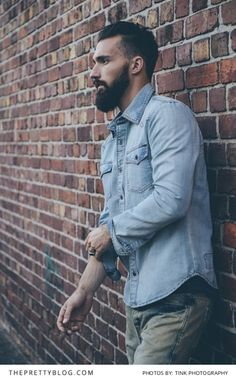 Stylish men's denim shirt | See more Sergeant Pepper Brand clothing on www.theprettyblog... | Photographers: TINK Photography |