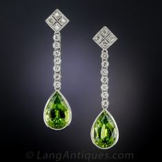 Long Peridot and Diamond Drop Earrings Peridot Jewelry, Diamond Dangle Earrings, Silver Jewelry, Silver Earrings, Lotus Jewelry, Silver Ring, Pear Diamond, Green Diamond, Jewelry Trends