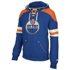 Edmonton Oilers Blue CCM Pullover Lace Up Hooded Sweatshirt by Reebok. $69.95. Combine your favorite comfortable hoodie and your classic love of old school hockey in this stylish Vintage Pullover Hooded Sweatshirt from CCM Reebok Classics. Features embroidered twill with felt applique team logo on chest, distressed twill and edgestitch, classic wash for retro look and feel, stylish vintage look, skate lace neck detail, front pockets for added warmth, and CCM custom ba...