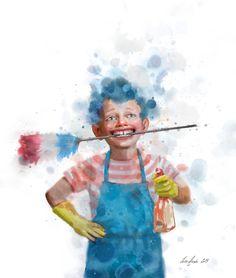 Om barn som hjelper til, Illustrasjon i Db Magasinet 2015 Lisa, Quirky Art, Children's Book Illustration, Book Illustrations, Funny Art, Caricature, Vignettes, Childrens Books, Watercolor Art