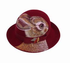 NEW  Cottontail Rabbit festival hat, vintage 1970's, upcycled handpainted by NYhop, $220.00