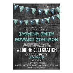 Rustic Blue Bunting Wedding Invitation