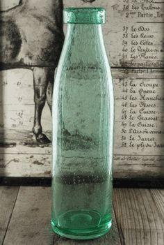 Green Glass Bottles Vases 15.25 in.