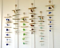 Sea Glass & Driftwood Mobile / Wall Hanging / Rustic Decor / Beach Art