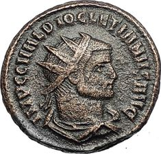 DIOCLETIAN Authentic Ancient Genuine 293AD Roman Coin w JUPITER of Siscia i67648