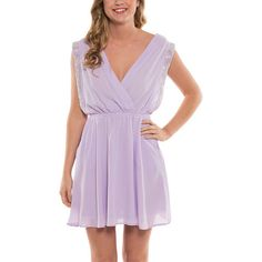 Coveted Clothing Lilac Studded Surplice Dress ($20) ❤ liked on Polyvore featuring dresses, long purple dress, long draped dress, surplice dress, long dresses and lilac dress