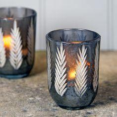 Fern Etched Tea Light Holder - candles & candlesticks
