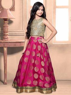 Magenta Silk Zari Work Wedding Choli Suit #Lehenga #Magenta #Wedding