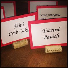 "Wine place holders, cork place cards, ""Godfather"" party"
