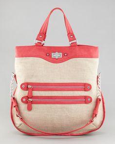 Danielle Nicole   Canvas Carmen Tote Bag, Natural/Watermelon - CUSP