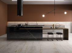 REBEL: porcelain stoneware collection with oxidized metal effect Luxury Kitchen Design, Kitchen Room Design, Interior Design Kitchen, Kitchen Decor, Küchen Design, House Design, Design Ideas, Cuisines Design, Beautiful Kitchens