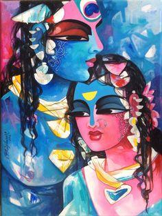 Radha Krishna by N P Razeshwarr Lord Shiva Painting, Krishna Painting, Krishna Art, Hare Krishna, Online Painting, Paintings Online, Indian Art Gallery, Indian Folk Art, Hindu Art