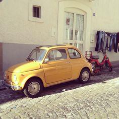 isn't that cute!!! Yellow Fiat 500