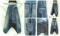 Sarouel en jean bleu (confection sur mesure) : Pantalons, jeans, shorts par dlf
