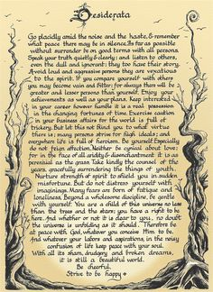 Desiderata - hadn't heard of this until my friend bought a house and found this in her basement.